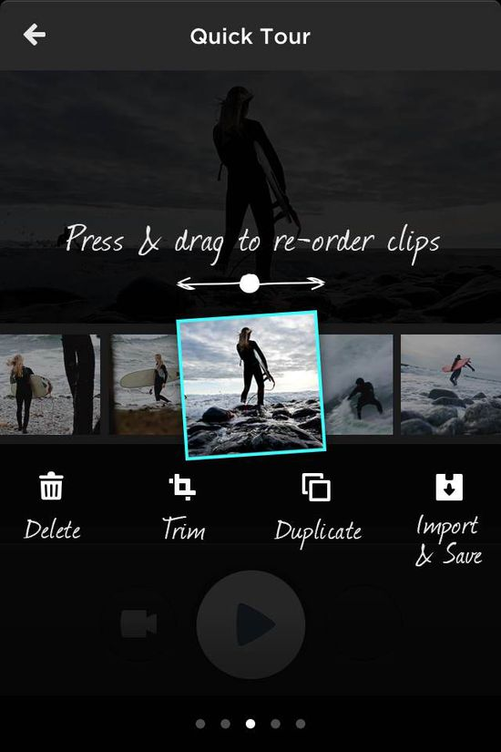 MixBit let's you organize your video clips anyway you want simply by pressing them and dragging where you want them in the sequnce of the video