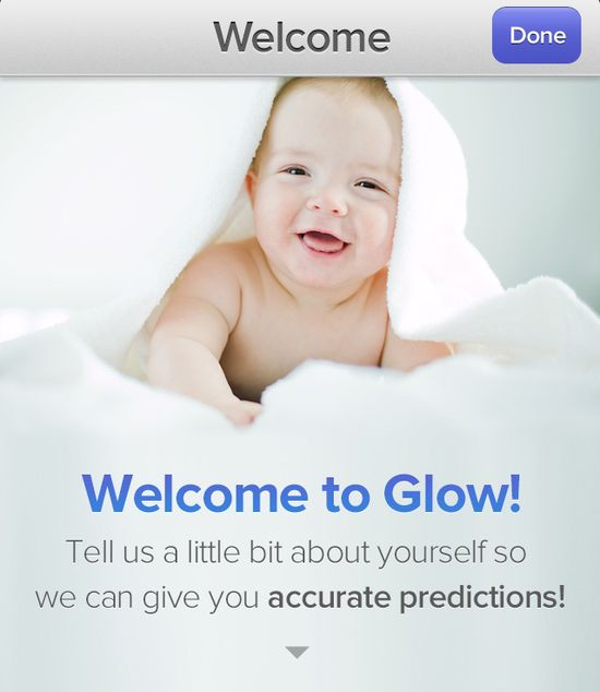 Glow Welcome screen