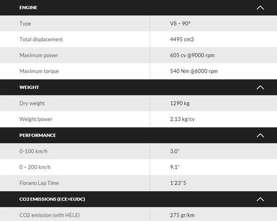 Ferrari 458 Specifications 2