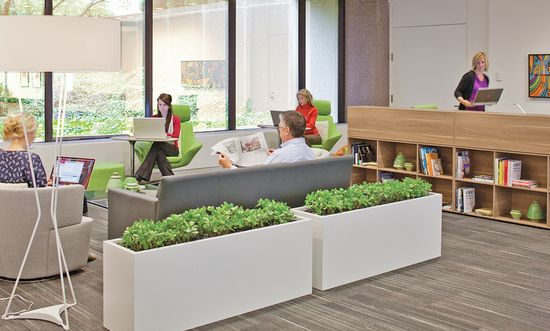"Some workers choose to retreat from the structure of their day and relocate for a few hours to these comfortable spaces in Steelcase's WorkCafé that create a ""palette of place"" throughout their workday"