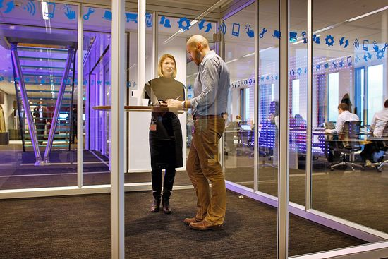 Colleagues can easily collaborate in small groups in this quiet location in Vodafone's Amsterdam office