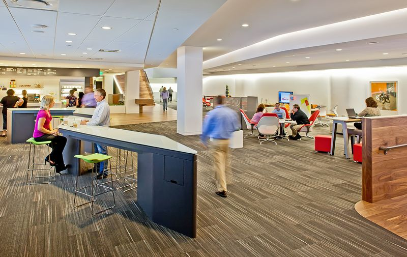 Steelcase's WorkCafé at the company's Grand Rapids, MI HQ is a space designed with a coffee shop vibe that's a popular spot for both collaboration and solo, focused work, in addition to eating and socializing