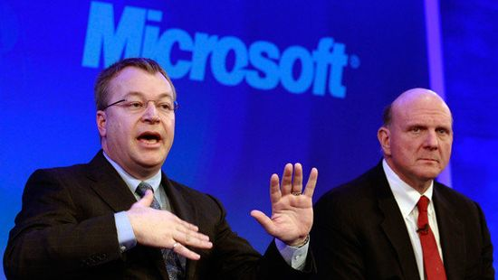 Nokia CEO Stephen Elop and Microsoft CEO Steve Ballmer announce the acquisition of Nokia's Devices & Services unit, license patents and mapping software on Monday, September 2, 2013
