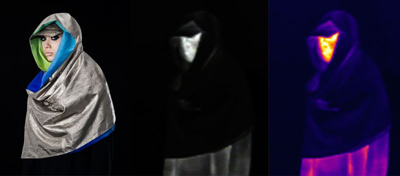 The anti-drone hoodie demonstrates its anti-drone camouflaging capabilities