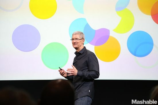 Apple CEO Tim Cook opens the iPhone 5S unveiling event in Cupertino on September 10, 2013
