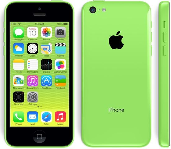 The new lower-priced Apple iPhone 5C front, back and side views