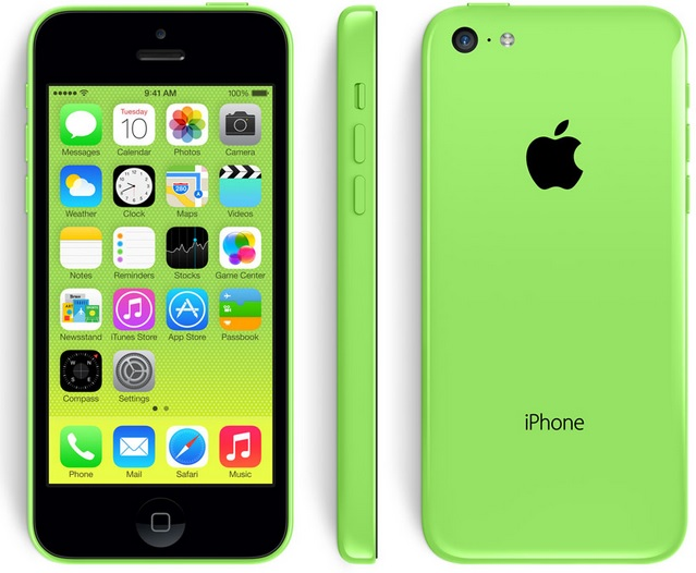 The iPhone 5C has a polycarbonate wrap-around back that will come in five colors -- green, white, blue, red, and yellow A