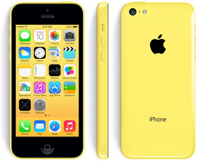 The iPhone 5C has a polycarbonate wrap-around back that will come in five colors -- green, white, blue, red, and yellow C