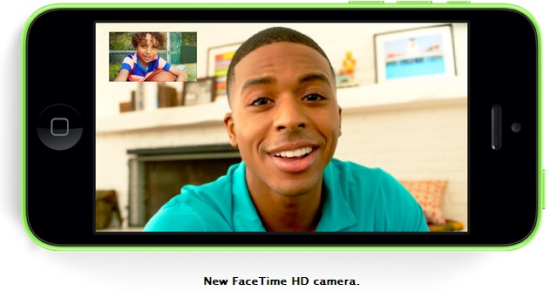 The new Phone 5c comes with a new FaceTime HD camera