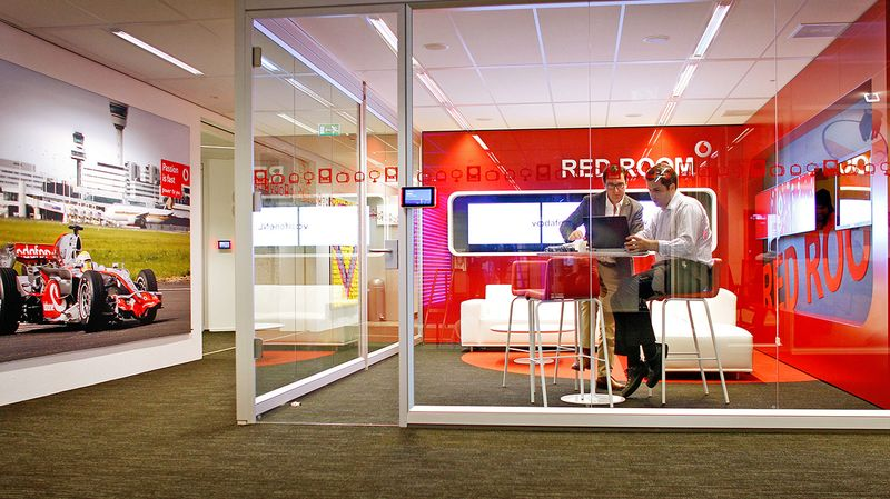 At Vodafone in Amsterdam, workers can quickly move into small rooms such as this one for solo, focused work or small group collaboration at Vodafone