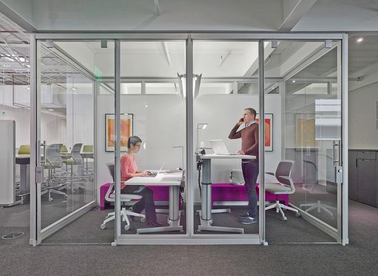 Steelcase's new Innovation Center at its Grand Rapids, Michigan, headquarters offers plenty of collaborative zones, but there are also spaces like these for quiet, focused work to let ideas develop