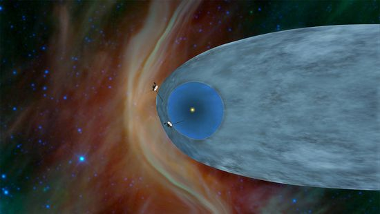 Beyond the Bubble -- The general locations of Voyager 1 and 2 are shown in this illustration at the edge of the heliosphere, the bubble created by solar wind. Image by NASA-JPL-Caltech