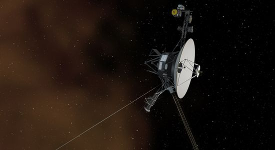 This artist's concept shows the Voyager 1 spacecraft intersteller space, the space beyond our Sun's influence and dominated by plasma, and ionized gas (illustrated here as brownish haze)