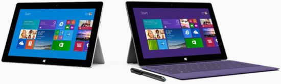 The Microsoft Surface Pro 2 tablet standing with kickstand out and with the attached full-size keyboard