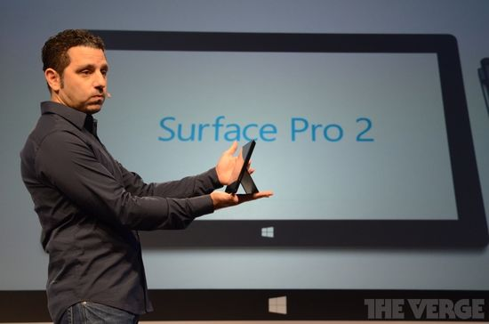 Panos Panay, Microsoft's VP of Surface, holds the new Surface Pro 2 tablet during Monday's unveiling press conference