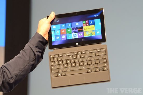 The Microsoft Surface Pro 2 tablet with attached full-size keyboard