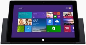 The Microsoft Surface Pro 2 tablet with optional docking station (front view) 1