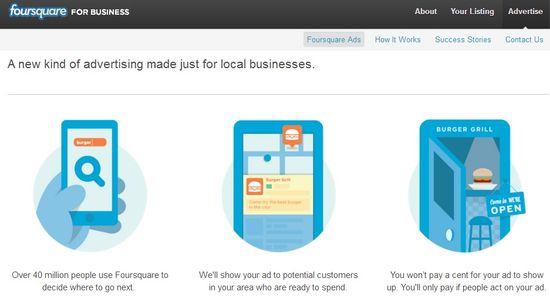 Foursquare for business homepage