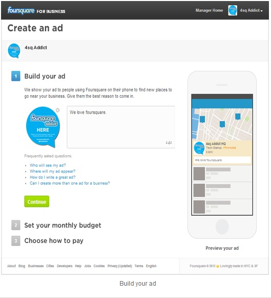 Foursquare create an ad app screenshot