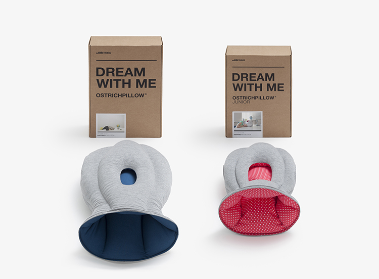 The two models side by side. The original Ostrich Pillow was a huge Kickstarter success, garnering upward of $200,000 in funding