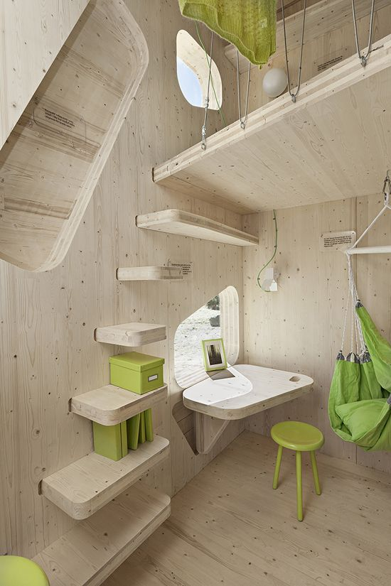 Swedish housing regulations require student apartments to cover a minimum of 25 square meters, but Tengbom's cubes, designed for students at the University of Lund, are the first known exception