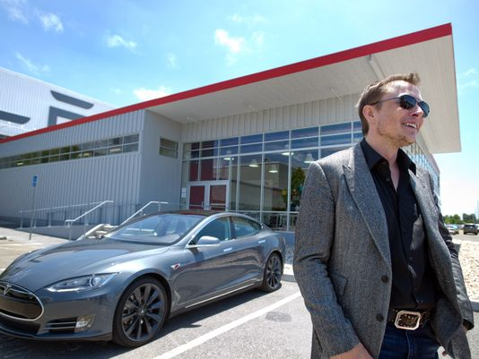 Tesla Model S electric luxury car and Tesla founder and CEO Elon Musk at the company's facotry in California