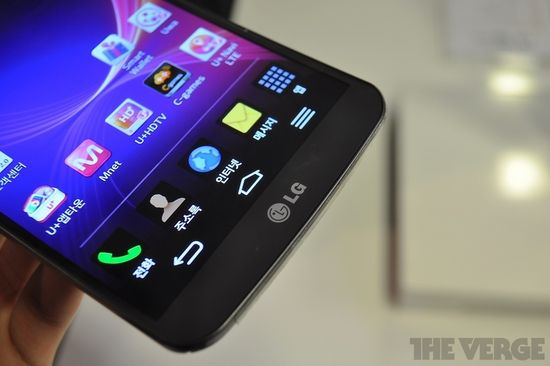 LG G Flex close-up of OLED display