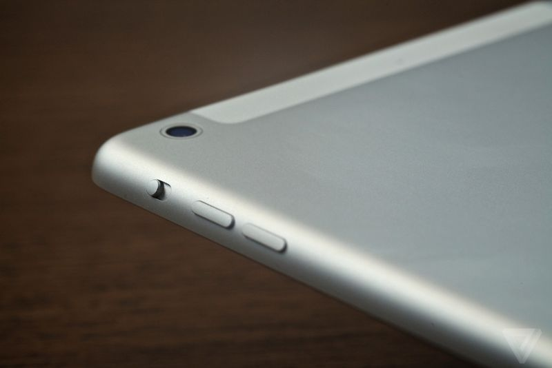 IPad Mni 2 camera lens, power on-off and camera button are located on the top  left corner of device