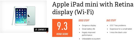 The Apple iPad Mini 2 with Retina display (WIFI) earned an overall score of 9.3 Verge Score