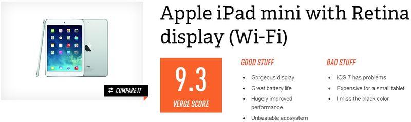The Apple iPad Mini 2 with Retina display (WIFI) earned an overall score of 9.3 Verge Score