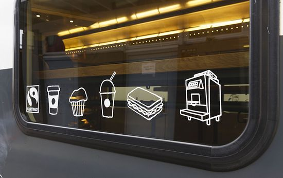 Starbucks trian cafe incorporates interesting icononography