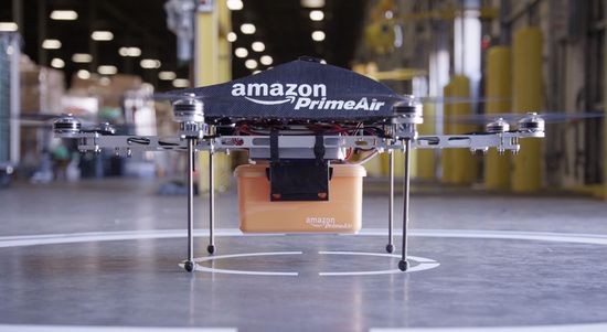 Amazon Prime Air drones will deliver packages weighing up to 5-lbs using robotic drones like this one