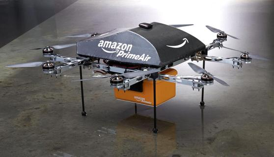 Close-up view of Amazon's Prime Air robotic air drones