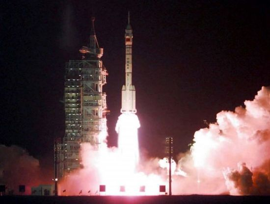 He first time China launched an unmanned spacecraft was in 1999, pictured. It is the only the third country to have done so, after Russia and the US