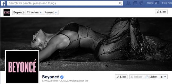 Beyonce Facebook homepage