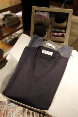 A Brunello Cucinelli cashmere V-neck sweater was selling for $645, and a sweat shirt for $1,275 at the Neiman Marcus NorthPark last week