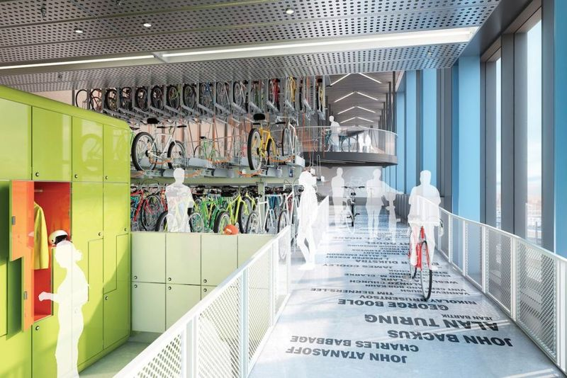 Googlers can cycle right into the building to the 20,000-square-foot bike shed.  Photo courtesy of INK-Allford Hall Monaghan Morris