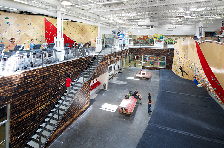 Brooklyn Boulders Somerville's co-working space offers a combination climbing gym and collaborative workspace in Massachusetts