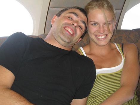 Google CEO Larry Page with his new wife onboard the Google private jet