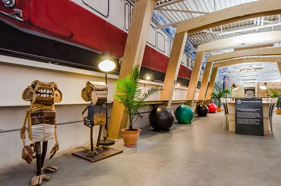 Brooklyn Boulders Somerville - There's free Wi-Fi, a lounge area with couches, a communal table, a smattering of standing desks with built-in pull-up bars, seated desks with balance ball chairs, and a few quiet spaces