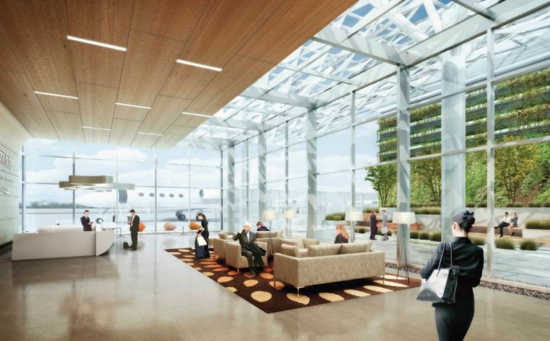 A rendering of the new terminal for Google-affiliated travelers