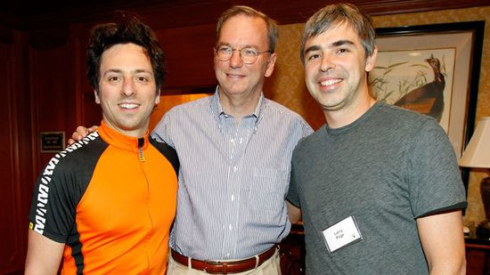 Google co-founders Sergey Brin (left), Larry Page (right) and Eric Schwartz