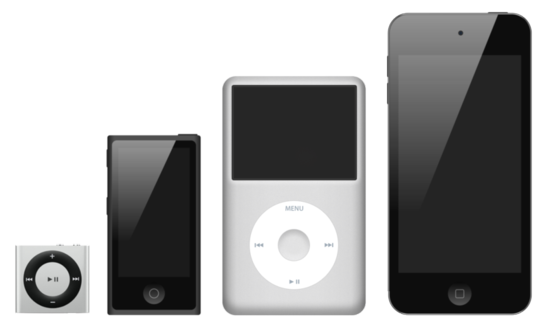 The iPod line as of September 2012 from left to right are the iPod Shuffle, iPod Nano, iPod Classic, iPod Touch