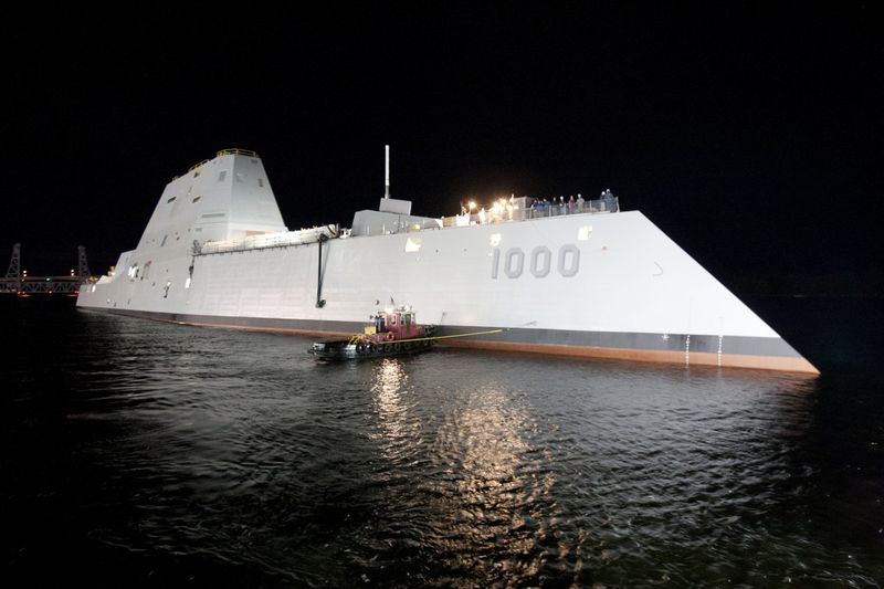 With the 'tumblehome' hull reducing drag and radar detection, along with such advanced weapons, it's like the Zumwalt is the Navy SEAL of ships — always operating under cover of night, a ninja of the sea
