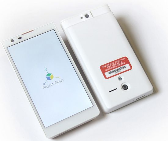 Google's Project Tango has a depth tracker and visual sensors in a phone to track your surroundings