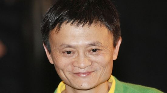 Chinese Internet entrepreneur, Jack Ma, founder and chairman of Alibaba Group, in Hong Kong to celebrate the 70th anniversary of Emperor Entertainment Group Ltd