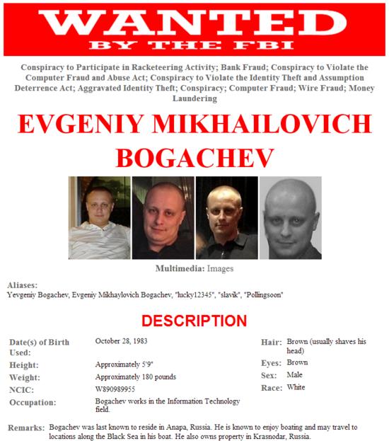 FBI Wanted Poster - Evgeniy Mikhailovich Bogachev aka Slavik