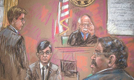 Courtroom drawing shows Raj Rajaratnam, right; assist US attorney Andrew Michaelson, left, and Judge Richard Howell, top right, listening to Anil Kumar witness testimony during Rajaratnam's trial