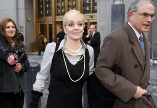 Danielle Chiesi is accompanied by her attorney Alan Kaufman during her famous trial for insider trading