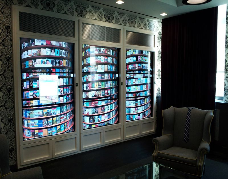 GOOGLE NEW YORK -- Google's New York headquarters features a digital bookshelf